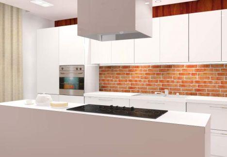 Projekt i aranżacja mieszkania w kamienicy ze ścianą z cegły w tle