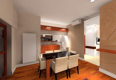 salon z kuchnią i kącik telewizyjny