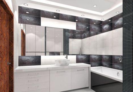 Łazienka w kolorach czarny i biały, płytki z fakturą skóry węża.