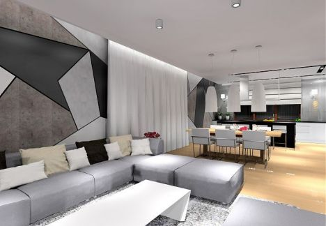 Projekt wnętrz domu z wykorzystaniem betonu architektonicznego.