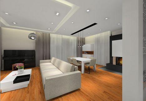 Elegancki przestronny dom, na podłodze deski z orzecha