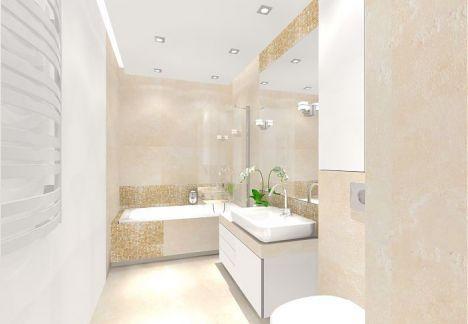 Projekt eleganckiej, jasnej łazienki.