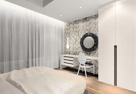 przytulna, jasna sypialnia z tapicerowanym zagłówkiem