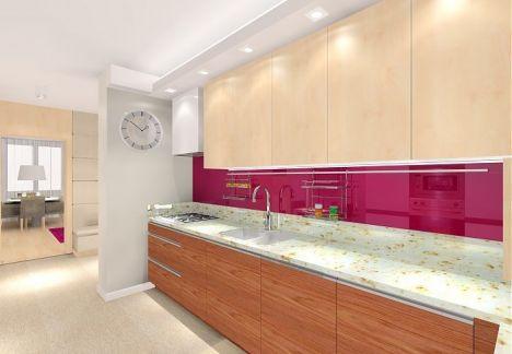 Nowoczesna kuchnia  z dekoracyjną ścianą w ulubionym kolorze właścicieli.