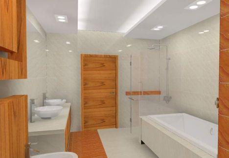 projekt łazienki z użyciem płytek imitujących alabaster