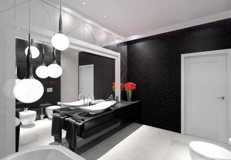 Łazienka czarno biała - nowoczesna czarno biała łazienka