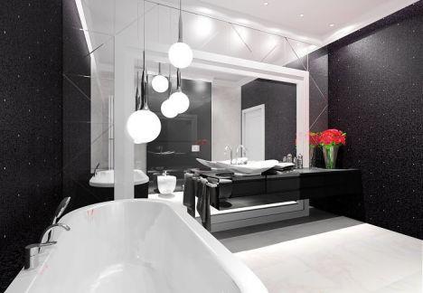 Łazienka czarno biała - czarna mozaika