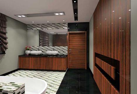 Projekt łazienki z wykorzystaniem płytek firmy dunin.