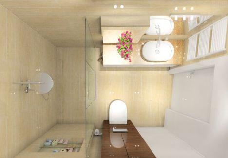 Łazienka trawertyn - mała łazienka
