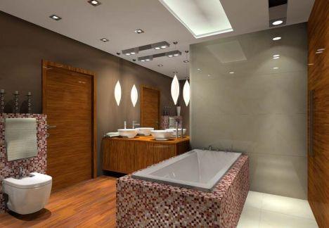 projekt łazienki, fornir lakierowany na wysoki połysk połączony z mozaiką Sicis - MKdezere projektowanie wnętrz