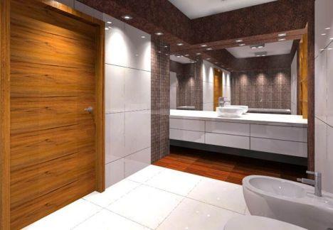 architekt wnętrz warszawa - projekt łazienki widok na lustro