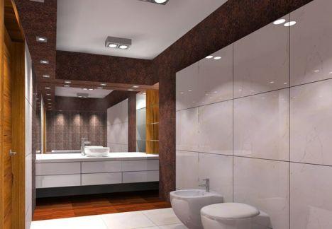 projekt łazienki warszawa, na ścianie polerowany gres rozmiar 60x60 - architekt MKdezere