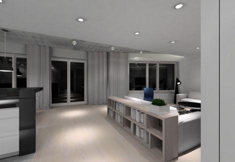 projekt wnętrza apartamentu utrzymane w stylu loftowym