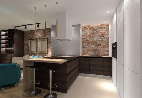 Kuchnia ze ścianą z cegły - architekt wnętrz Warszawa
