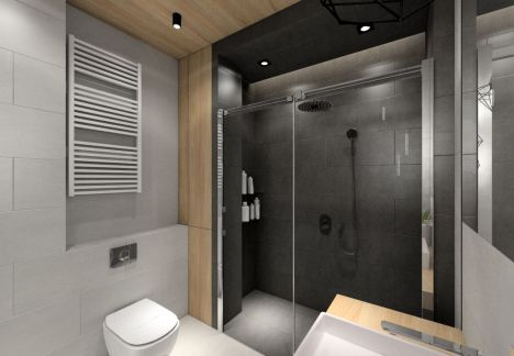 Projekt dużego prysznica z deszczownicą - architekt wnętrz Warszawa
