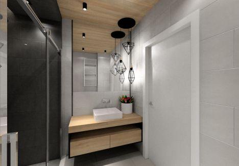 Projekt małej łazienki z szarymi płytkami - projektant wnętrz