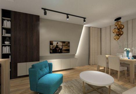 Projekt salonu - dekoracyjne oświetlenie telewizora - architekt wnętrz Warszawa