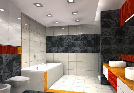 Projekt łazienki w nowoczesnym stylu mieszanka gresu polerowanego, marmuru i elementów pokrytych fornirem