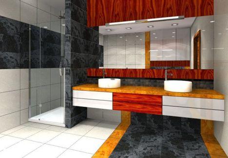 Marmur i tafle jasnego gresu polerowanego tworzą nowoczesną i przestronną łazienkę - architekt wnętrz warszawa