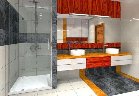 Nowoczesne wnętrze łazienki, prysznic umywalka, lustro - wykonanie i projekt  MKdezere