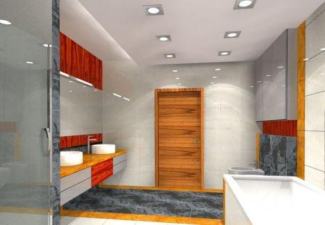 Widok na umywalkę, lustro i szafkę - projekt łazienki wykonany przez MKdezere