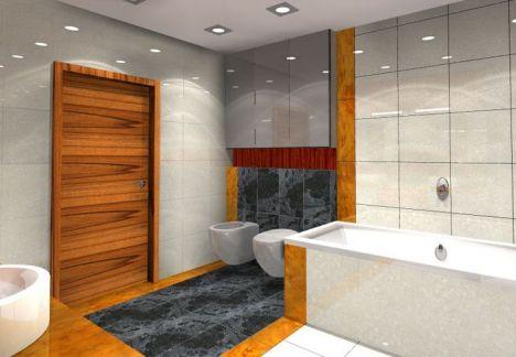 Projekt łazienki widok na wannę i drzwi wejściowe - projekty łazienek - MKdezere