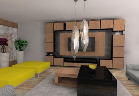 aranżacja wnętrza salonu - piękny żyrandol i 2 kanapy