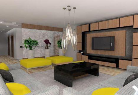 projekt mieszkania warszawa - widok salon ze strefą telewizyjną i mnóstwem miejsca na przechowywanie