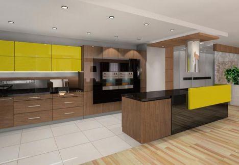 projekt kuchni - wyspa z nowoczesnym okapem plus dekoracje w odważnych kolorach