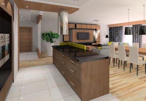 projekt mieszkania - widok na salon i przedpokój