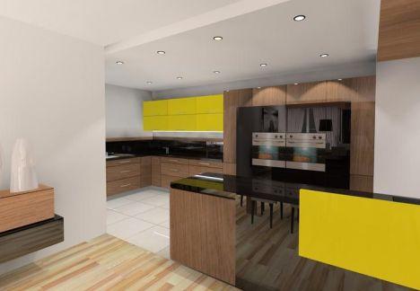 projekt kuchni - odważne żółte kolory i eleganckie dekoracje