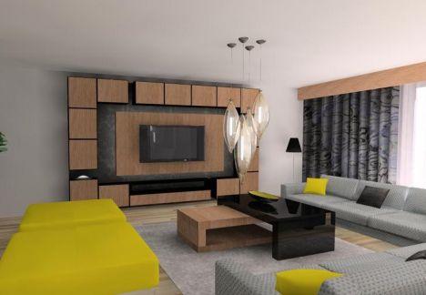 aranżacja wnętrza salonu widok na strefę telewizyjną - projektant MKdezere
