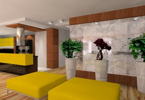 projekt mieszkania - widok na dekoracje kwiatową - architekt MKdezere
