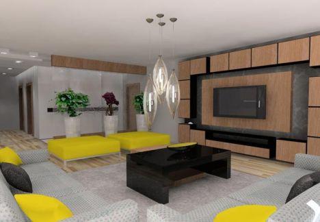 nowoczesny salon - wnętrze zaprojektowane przez MKdezere