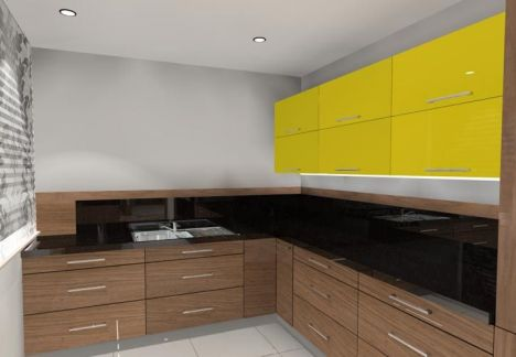 projekt kuchni - odważna żółta kolorystyka górnych szafek