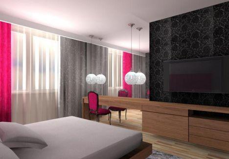 architekt wnętrz MKdezere - projekt sypialni z funkcjonalną strefą telewizyjną i toaletką