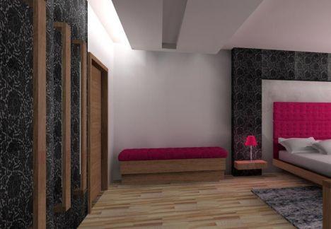 projekt sypialni w różu - dodatkowe miejsca na przechowywanie pościeli