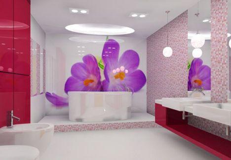 projekt wnętrza łazienki - piękna dekoracja (laminowanie szkła)