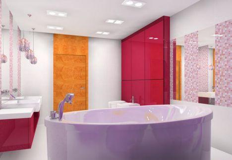 projekt różowej łazienki - architekt wnętrz warszawa
