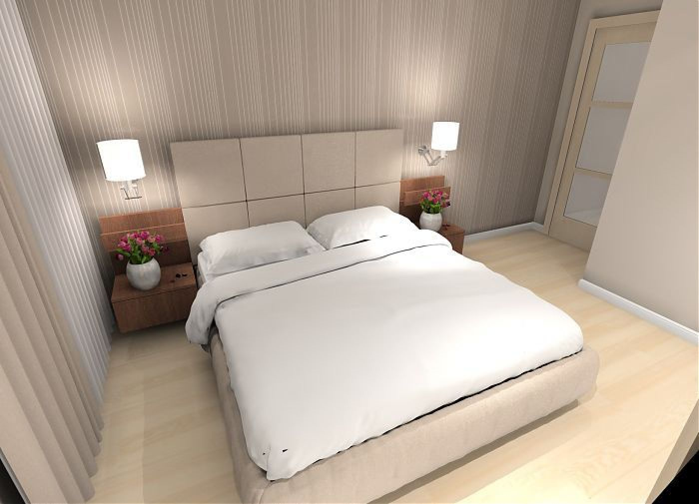 jasna sypialnia z tapet�