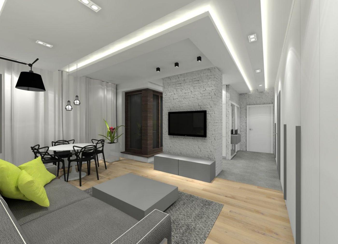 Projekt mieszkania 48m for Biala cegla w salonie