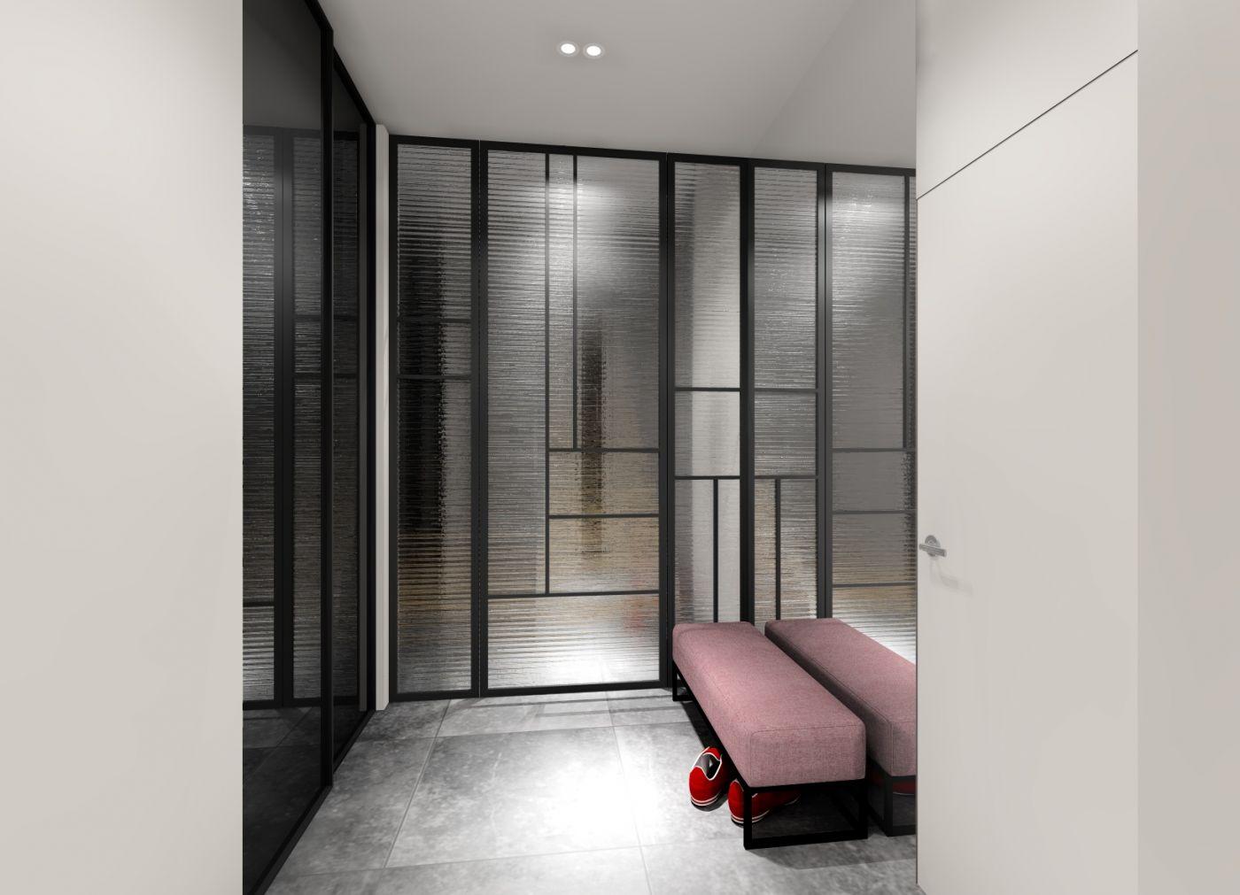 projekt przedpokoju - tapicerowane siedzisko