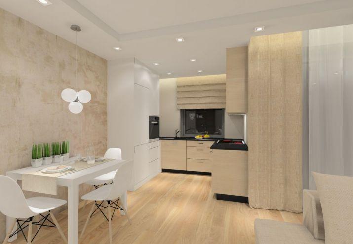 Projekt otwartego salonu połączonego z kuchnią i jadalnią.