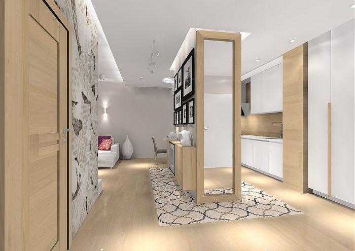 jasne, przytulne mieszkanie z dębową podłogą i meblami
