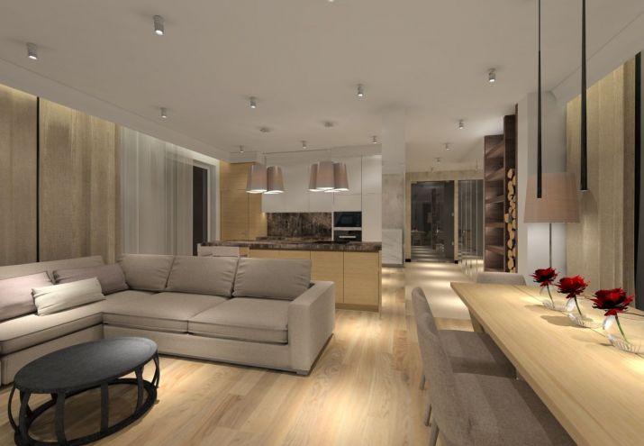 Projekt eleganckiego domu utrzymanego w kolorach ziemi.