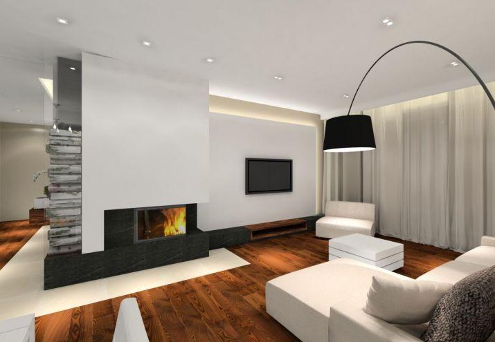 Projekt domu pod warszawą z wykorzystaniem podłogi z jesionu termo i palisandru.