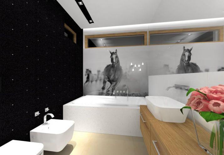 Projekt biało czarnej eleganckiej łazienki gościnnej.