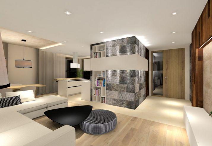 Projekt nowoczesnego, salonu połączonego z kuchnią i jadalnią.