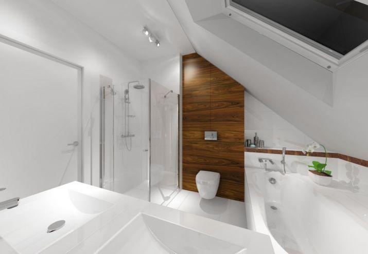 Aranżacja wnętrz łazienki z wykorzystaniem białych płytek i forniru z palisandru.