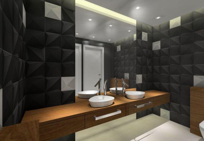 Aranżacja WC - czarne płytki
